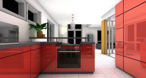 Projekt kuchni - duża przestrzeń, czerwono biały wystrój, nowoczesna