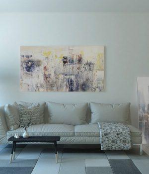 Wnętrze mieszkania - białe ściany, dywan, kanapa, zasłony, podłoga; czarna lampa stojąca